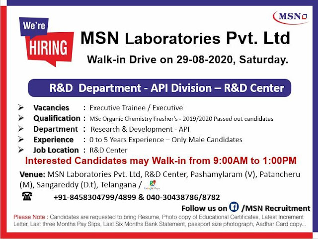 MSN Laboratories Pvt Ltd Walk In Drive for Freshers And Experienced R And D Department on 29th Aug 2020
