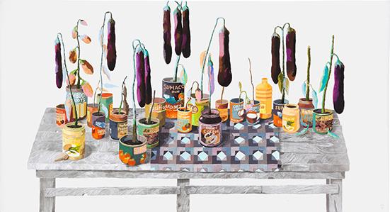 Erik Mattijssen  Pacifico, 2009 gouache, potlood, pastel op papier  150 x 274 cm