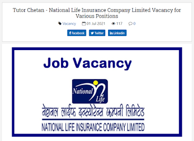 National Life Insurance Company Limited Job Vacancy for Various Positions
