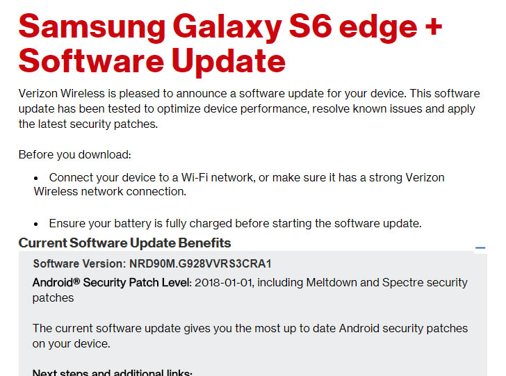 Meltdown and Spectre Security Updates Hitting Verizon Galaxy