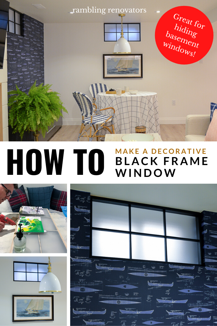 black window frame, diy black steel frame window, basement window covering, diy window frame
