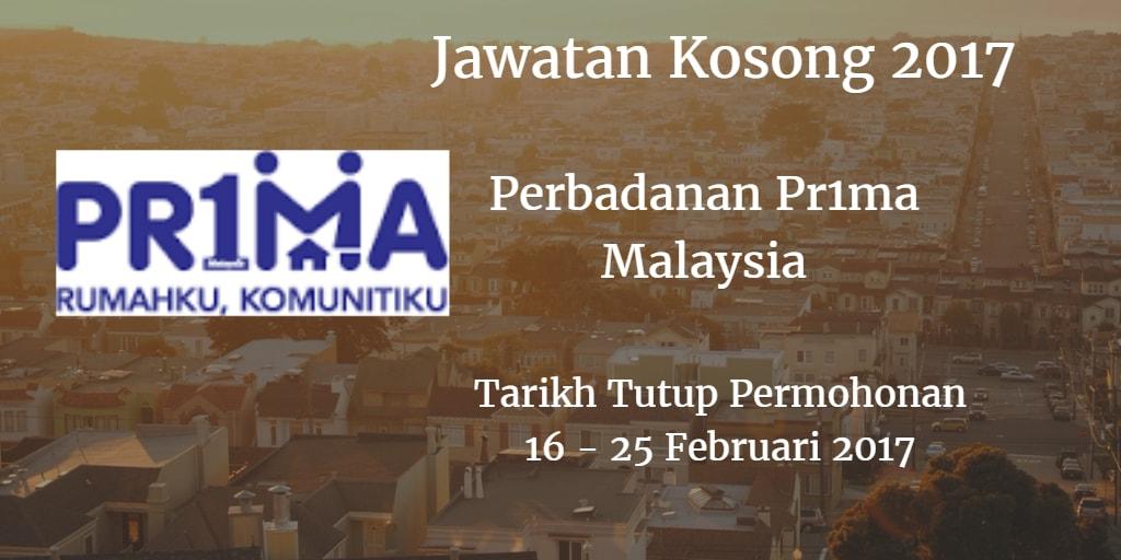 Jawatan Kosong Perbadanan Pr1ma Malaysia  16 - 25 Februari 2017
