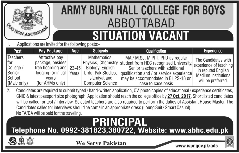Teachers Jobs In Army Burn Hall College For Boys Oct 2017