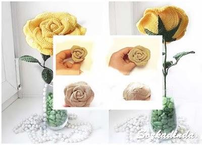 Rosas grandes de crochet paso a paso