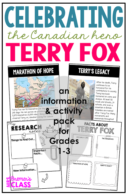 Terry Fox activities and information pack for Grades 1-3