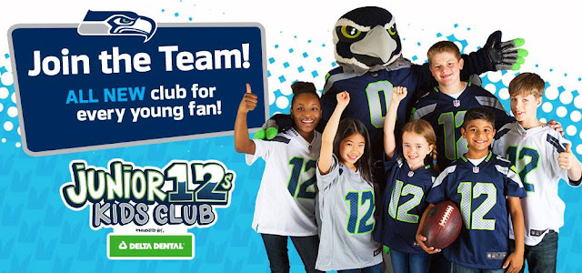 Seattle Talent Clients in a photoshoot for the Seahawks Kids Club
