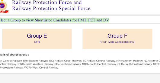 Railways RPF SI 2018 Shortlisted Candidates for PMT, PET and DV (GROUP E & F)