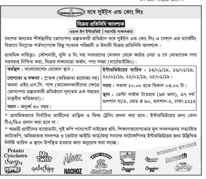 Bombay Sweets and Company Limited SR Job Circular 2019