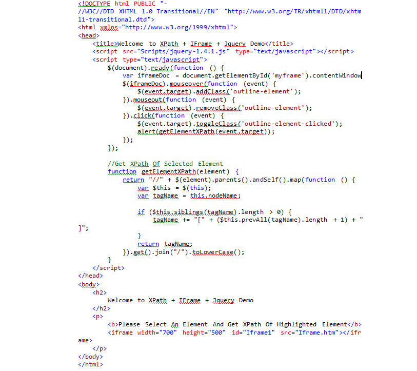 Get Element XPath of Selected Element Of IFrame Using Jquery