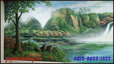 Mural lukis dinding gambar pemandangan keren