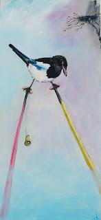 kunst, maleri, glade farver, moderne kunst, art, acryl på lærred, ayoe ll pløger,bliv set, anderledes, skade, husskade, stylter