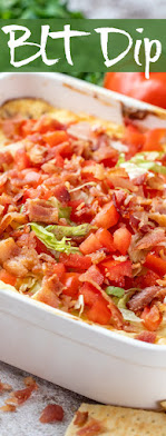 BLT Dip in casserole with text