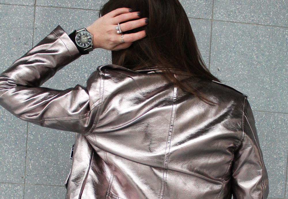 giacchetto pelle argento zaful