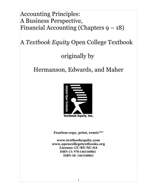 Accounting Principles: A Business Perspective Book Free Download