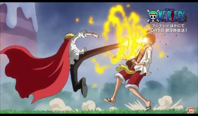 Sanji kicked on Luffy's face