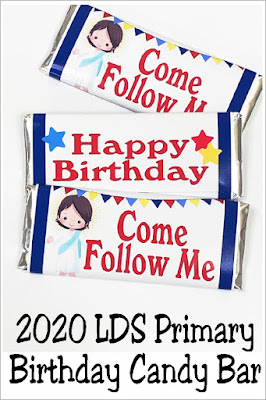 If you are looking for a fun primary birthday idea for the kids in your church, print out this Come Follow Me candy bar wrapper. The kids will love being reminded of Jesus and being wished a Happy Birthday with a chocolate treat. #primarybirthdayidea #ldscandybarwrapper #diypartymomblog