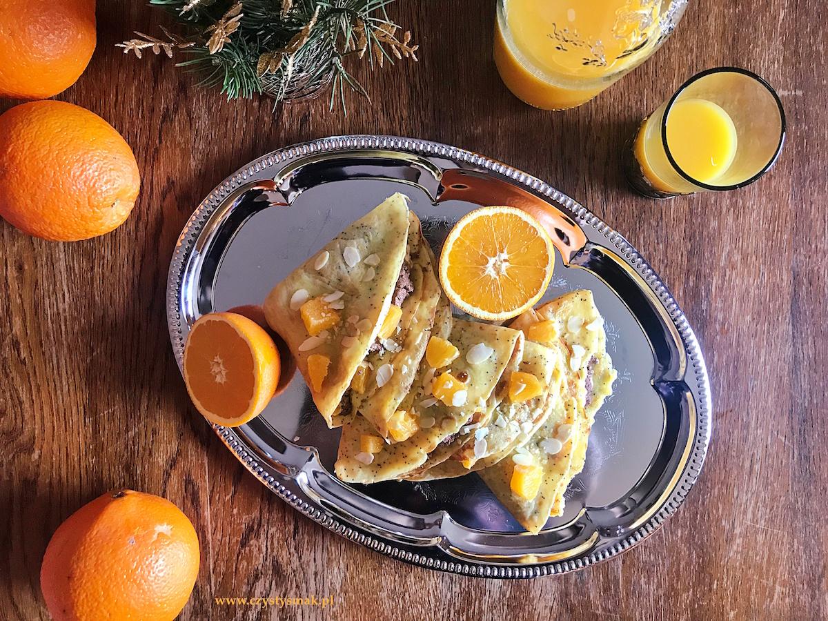 Pomarańczowe naleśniki makowe