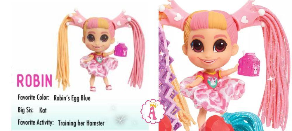 Кукла Robin Hairdorables Short Cuts серия 2 с желейными волосами Jelly Hair