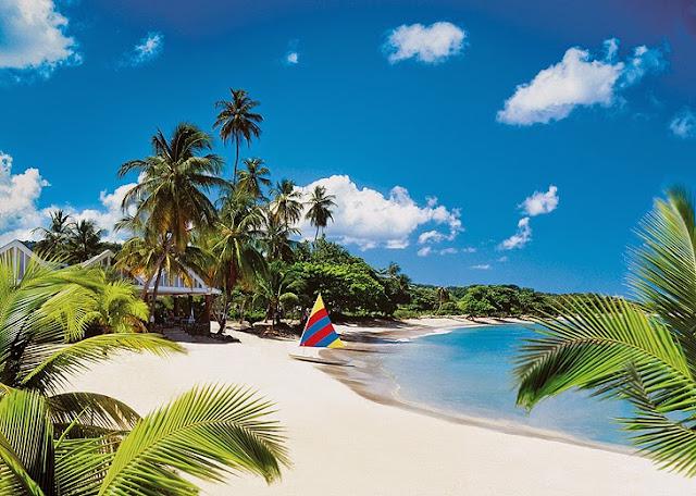 Plage de Sainte Lucie , lieu de Marige aux Caraibes