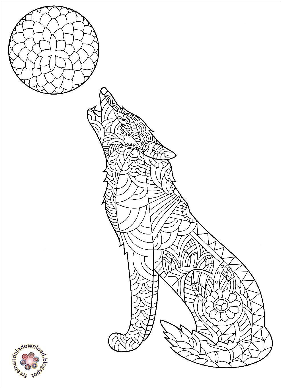wolf mandala malbuch für erwachsene
