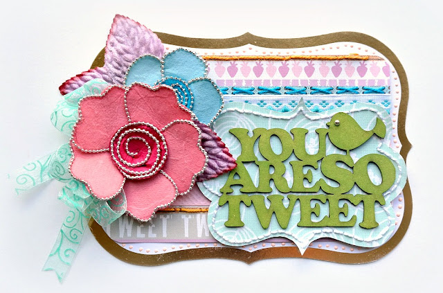 You Are So Tweet Card by Dana Tatar for FabScraps - Woodland Friends Collection - Acrylic Painted Chipboard and Hand-Stitched Accents