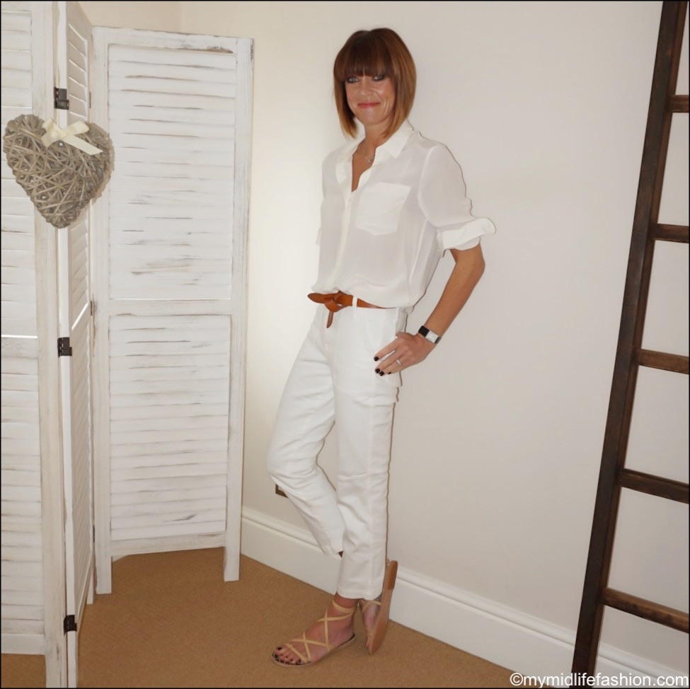my midlife fashion, marks and Spencer pure silk long sleeve shirt, Ancient Greek morif sandals, Isabel Marant lecce leather belt, j crew straight leg crop jean in garment dye denim