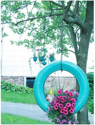 usar llantas en la decoración del jardín, decoraciones del jardín con llantas