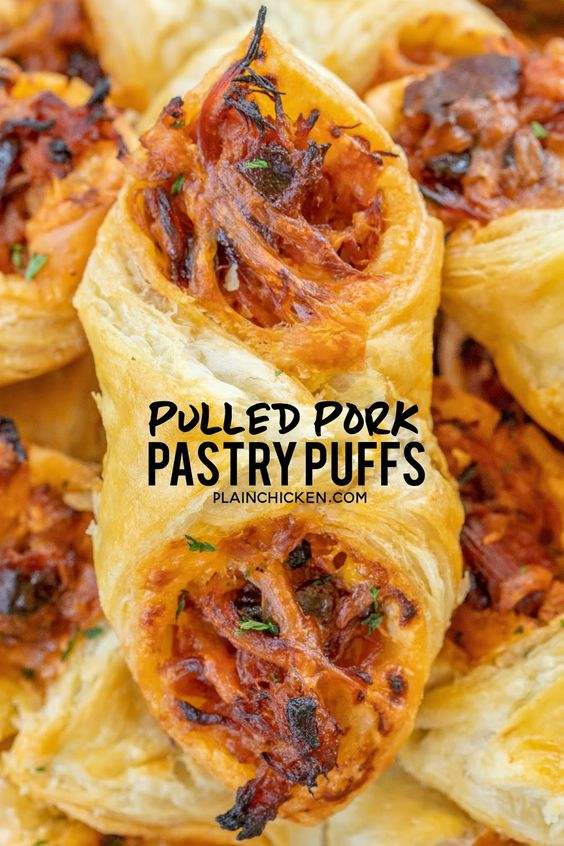 only 4 ingredients! Great recipe for a quick lunch, dinner or party. Smoky pulled pork tossed with BBQ sauce and cheese then baked in puff pastry. SO good! Can make ahead and freeze for later. We love to serve these with some coleslaw and extra BBQ sauce or Ranch for dipping. YUM!