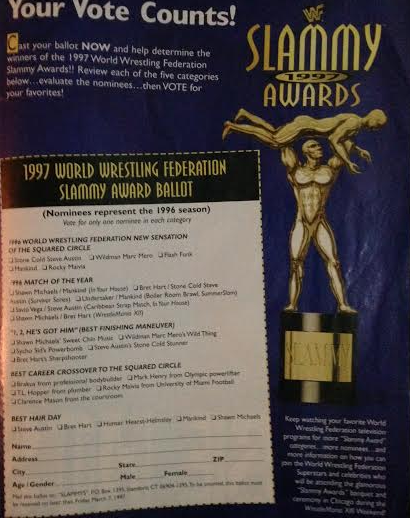 WWE - WWF RAW MAGAZINE 1997: Slammy Award voting