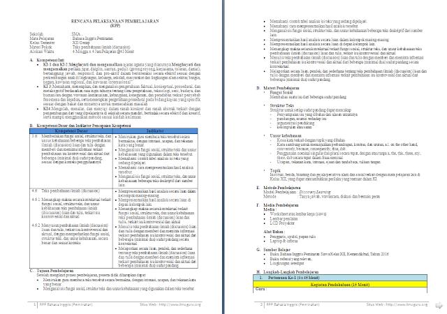RPP 1 Lembar Bahasa Inggris Peminatan Kelas 12 SMA/MA Semester 2