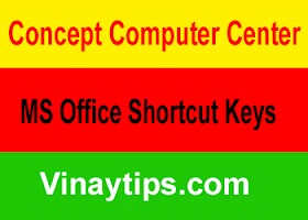 Common Shortcut Keys Used in MS OFFICE