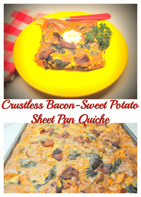 Crustless Bacon -Sweet Potato Sheet Pan Quiche at Miz Helen's Country Cottage