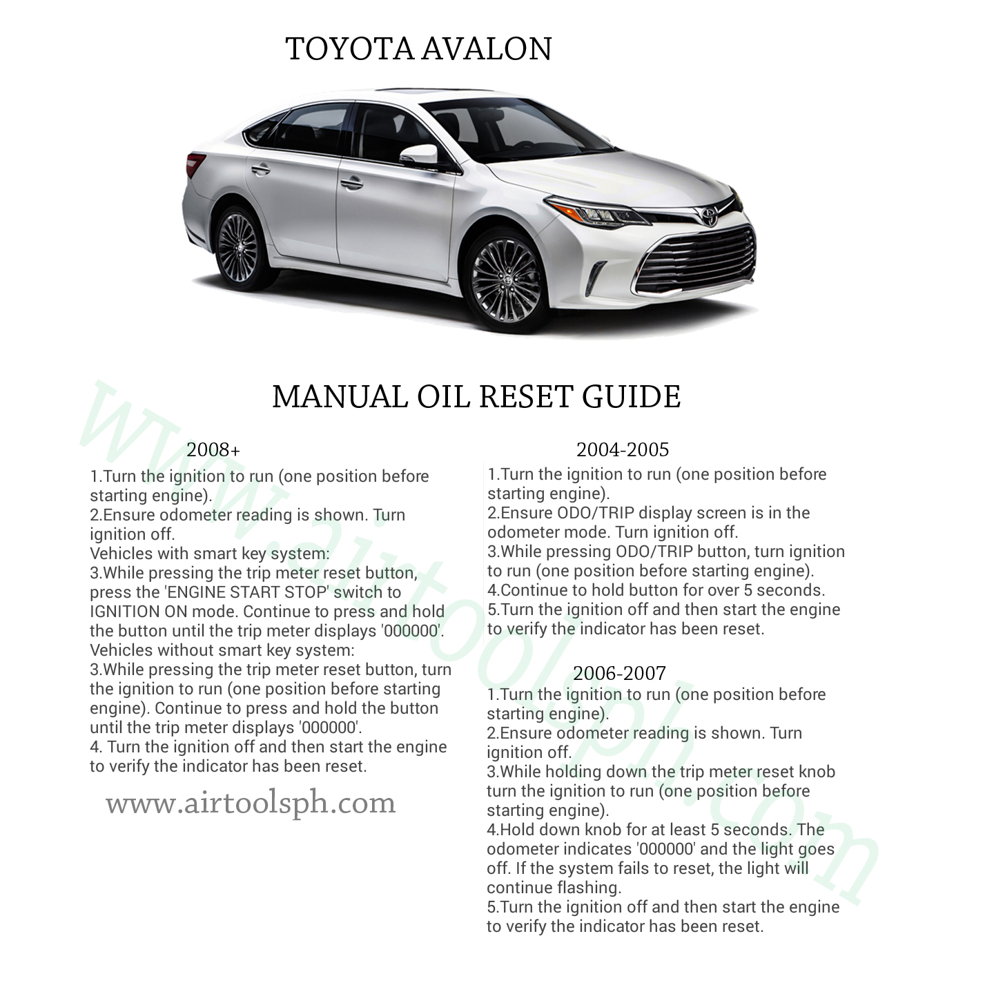 Complete manual oil reset guide for toyota cars