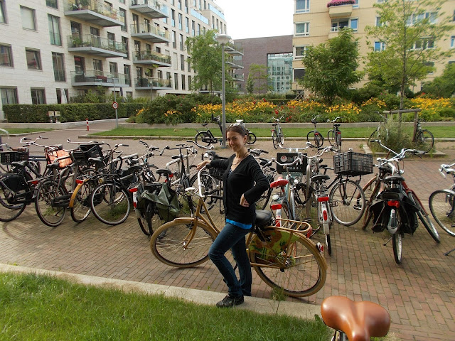 Femme, vélos, bicyclettes, Amsterdam, immeubles