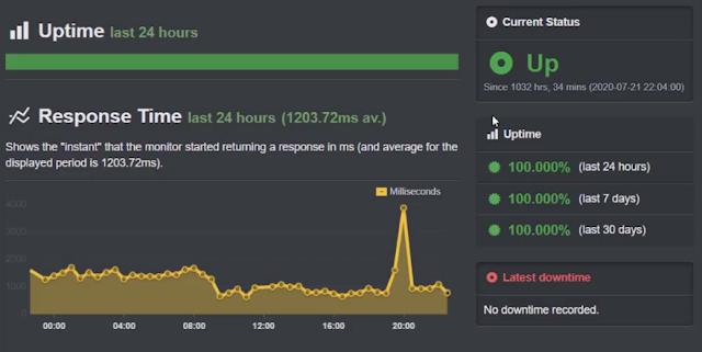 uptime performance test of bluehost