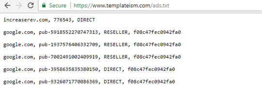 templateism ads.txt file
