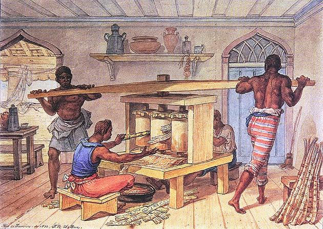 Engenho Manual que Faz Caldo de Cana - Debret, Jean-Baptiste  ~ Pinturas do Brasil colonial