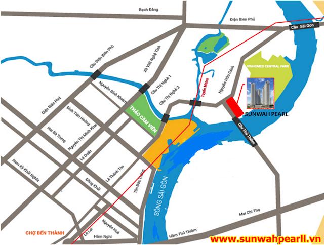 Vị trí căn hộ Sunwah Pearl Thủ Thiêm đường Nguyễn Hữu Cảnh Bình Thạnh HCM