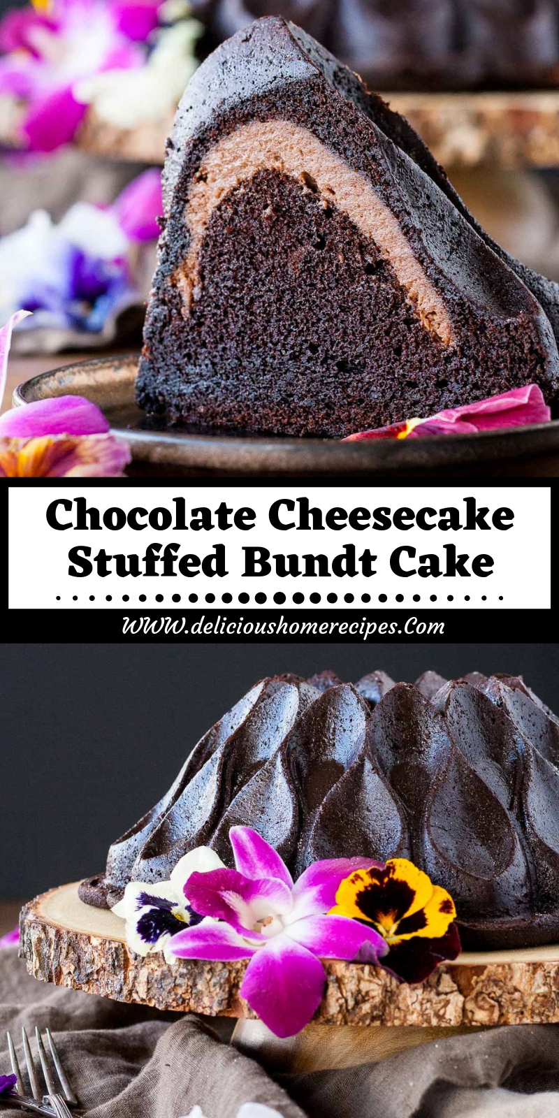 Chocolate Cheesecake Stuffed Bundt Cake