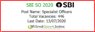 SBI SO 2020 indgovtjobs