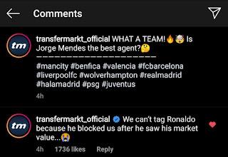 Ronaldo 'blocks Transfermarkt' as he is not happy with €75m market value