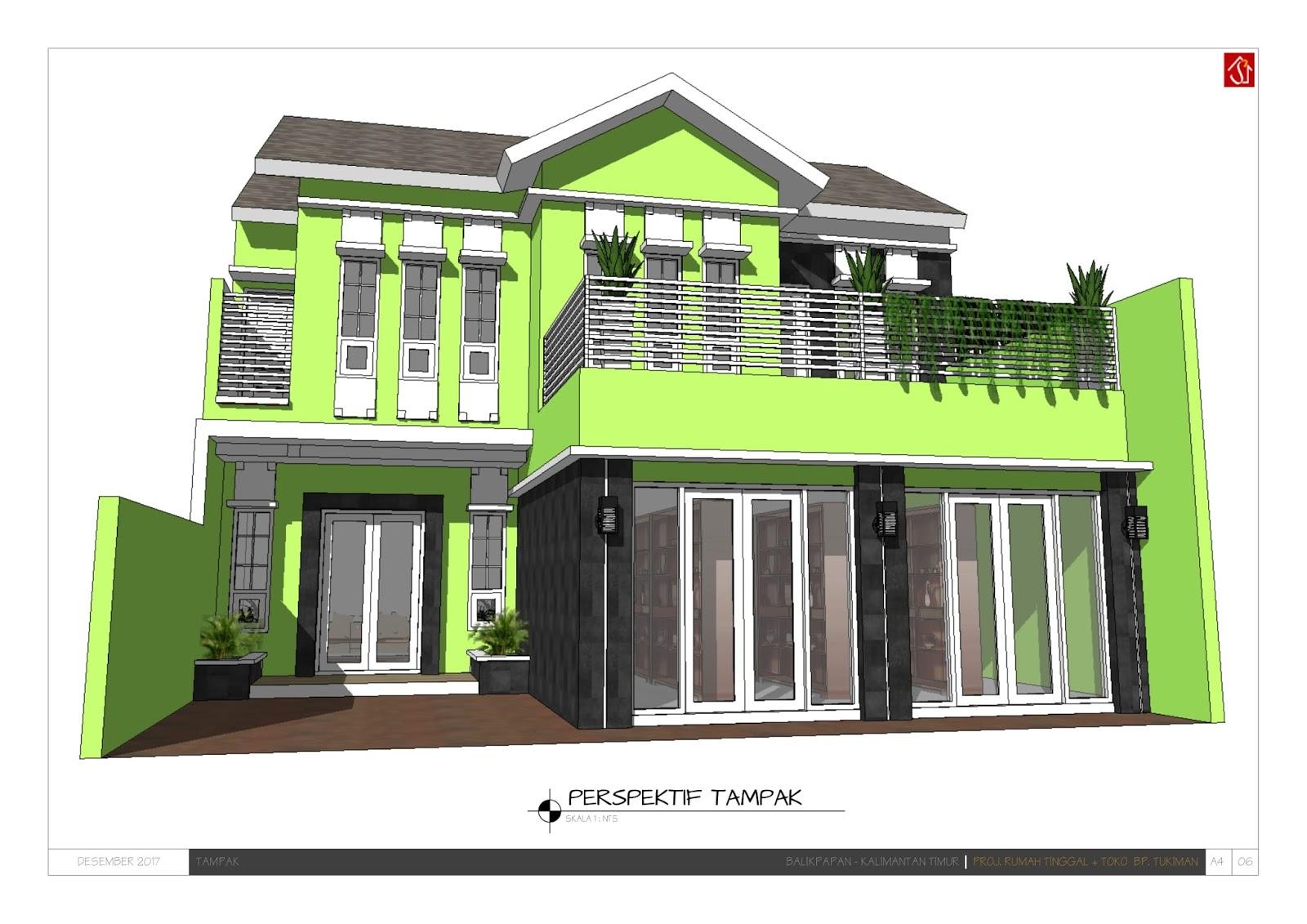 Desain Rumah dan toko Minimalis Dua Lantai