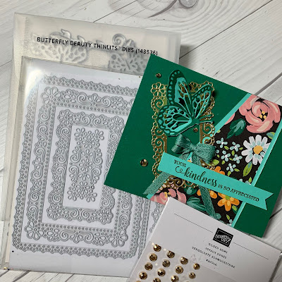 Crafting tools to make floral greeting card using Flower & Field Designer Series Paper