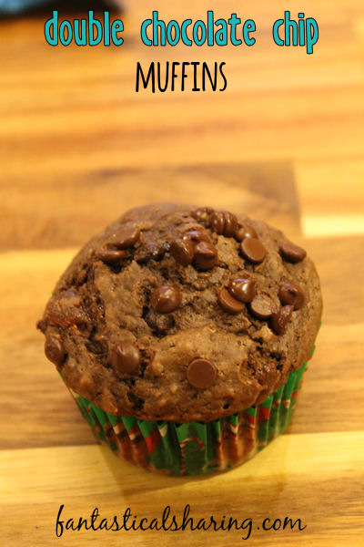 Double Chocolate Chip Muffins // When in doubt, double the chocolate and serve it for breakfast! #recipe #breakfast #muffins #chocolate