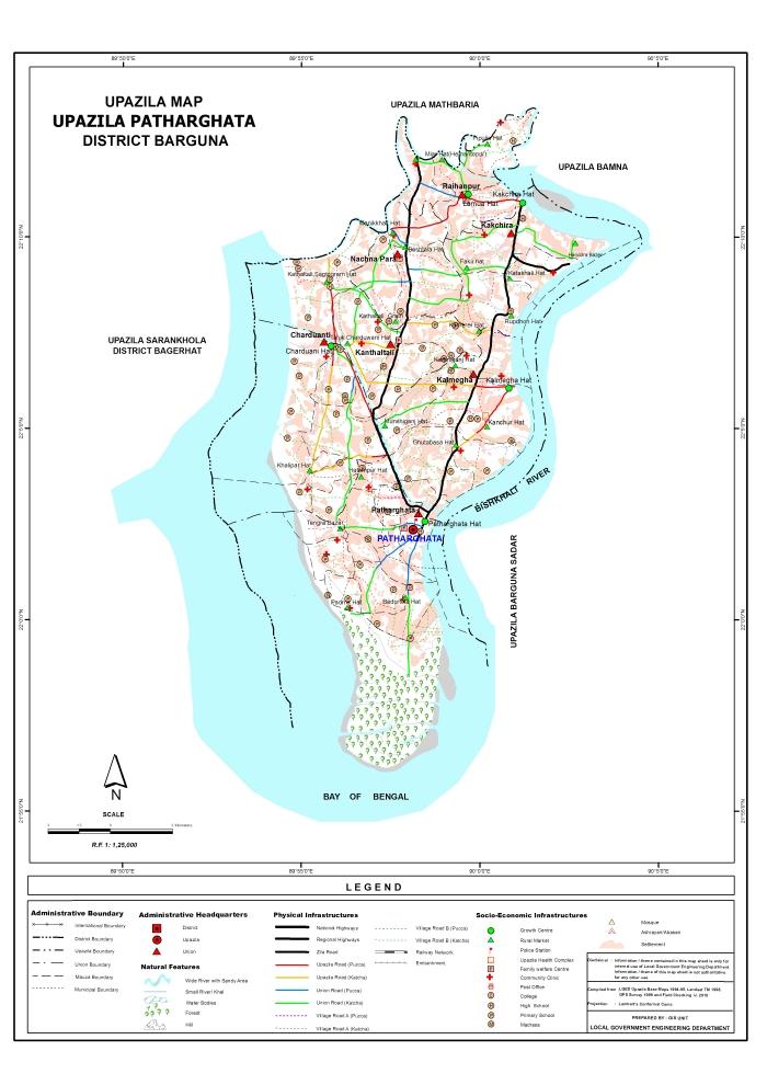 Patharghata Upazila Map Barguna District Bangladesh