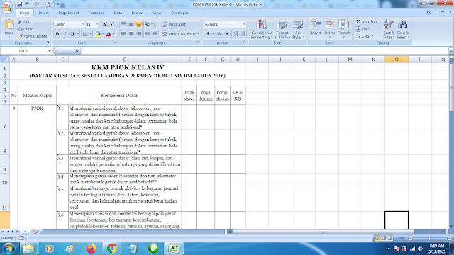 Download Contoh KKM K13 Kelas 4 SD Kurikulum 2013 Terbaru