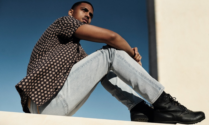 Keith Powers poses in 7 For All Mankind spring-summer 2021 campaign.
