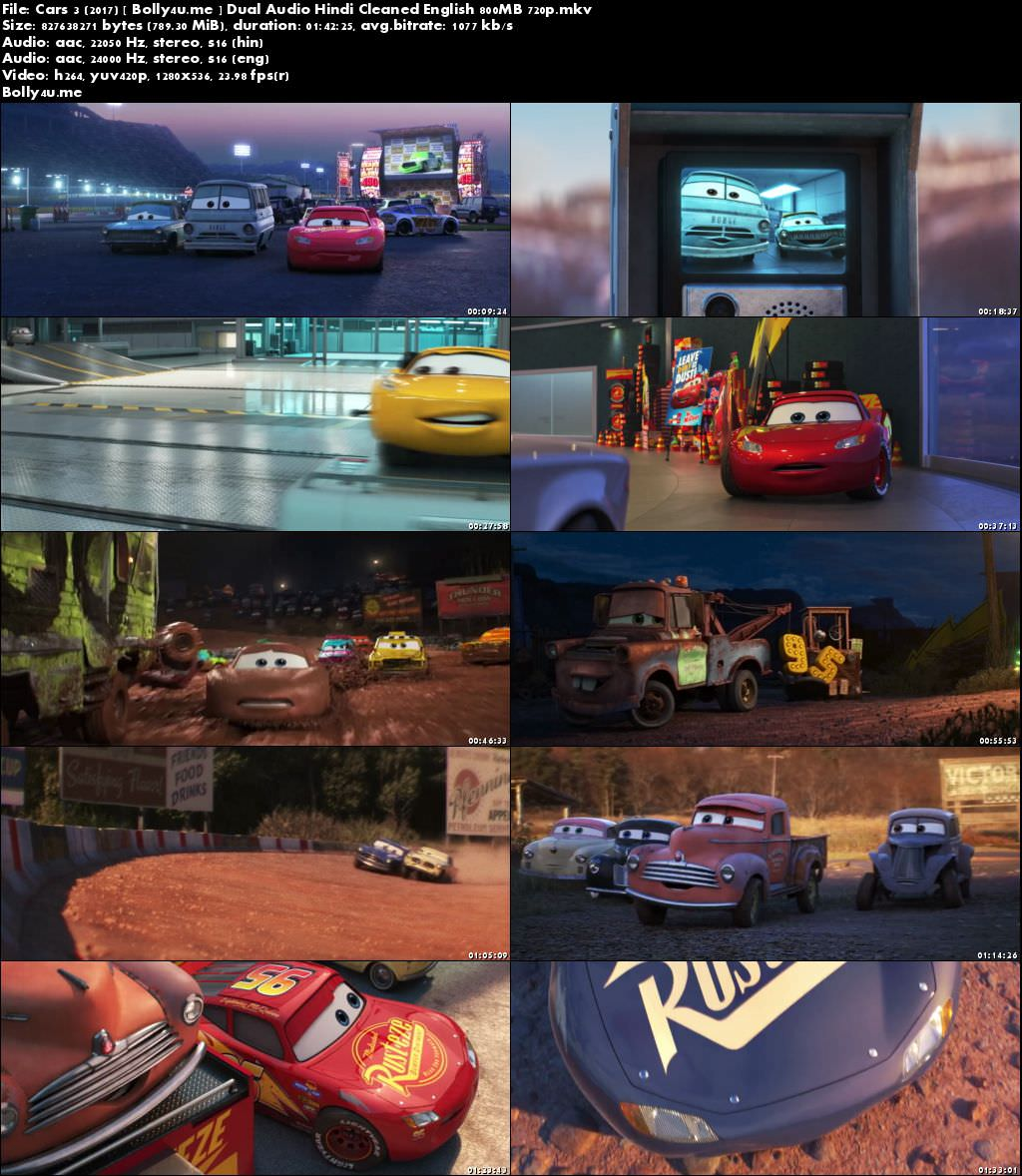 Cars 3 2017 BRRip 350MB Hindi Dubbed Dual Audio 480p Download