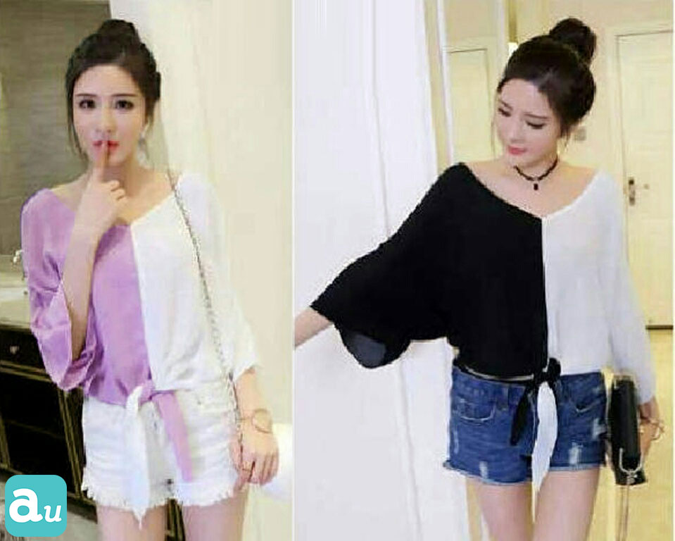 Jual Blouse Two Tones V-Neck Top - 13235