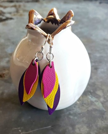 earrings, leather, accessories, hand crafted, sterling silver, stainless steel, gifts, pink, yellow, purple, leather